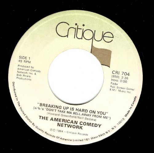 THE AMERICAN COMEDY NETWORK Breaking Up Is Hard On You Vinyl Record 7 Inch Critique 1984